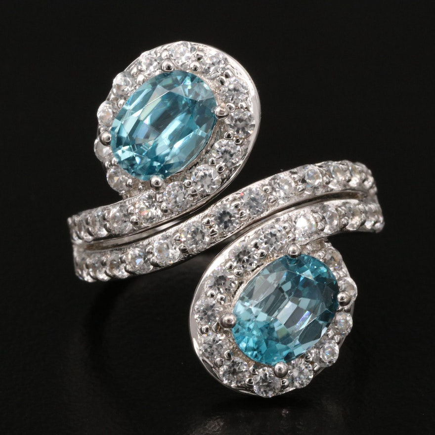 Sterling Blue and White Zircon Bypass Ring