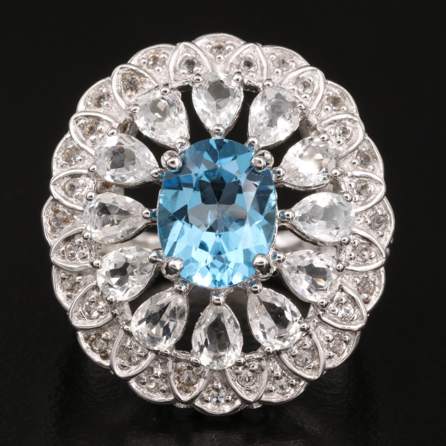 Sterling Topaz Ring with Oval Medallion Pattern