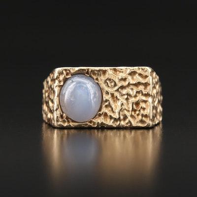 14K Star Sapphire Textured Ring
