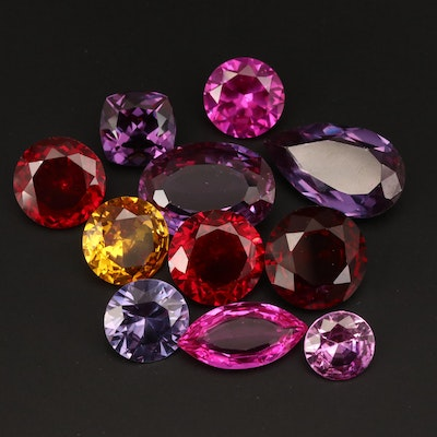 Loose Laboratory Grown Gemstones Including Ruby and Color Changing Sapphire