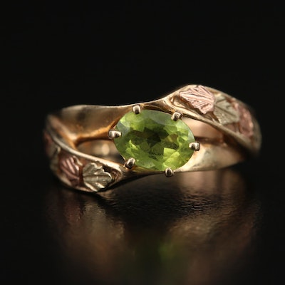 10K Tri-Color Peridot Foliate Ring with Rose Gold Accents