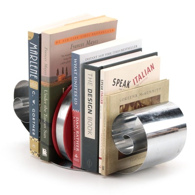 Curled Metal Tension Bookends with Books, Late 20th Century