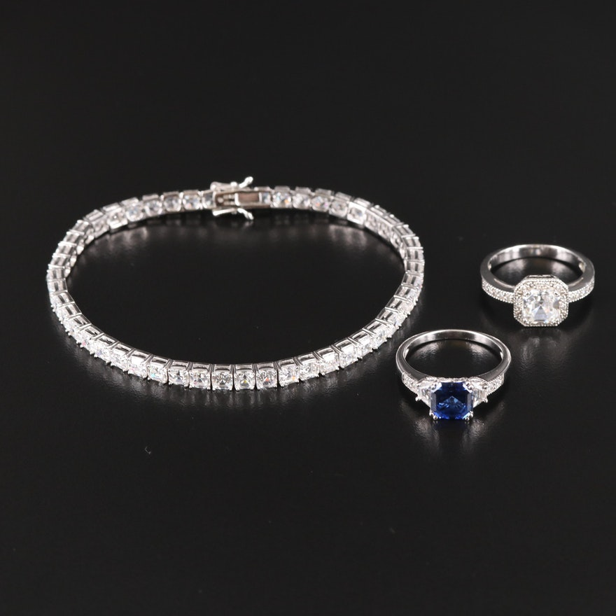 Sterling Cubic Zirconia Bracelet and Rings Including Sapphire