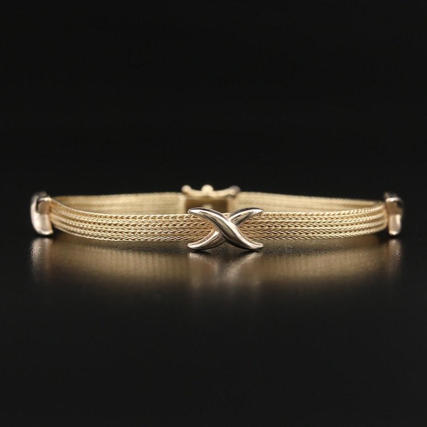 """Italian 14K Mesh """"X"""" Bracelet"""
