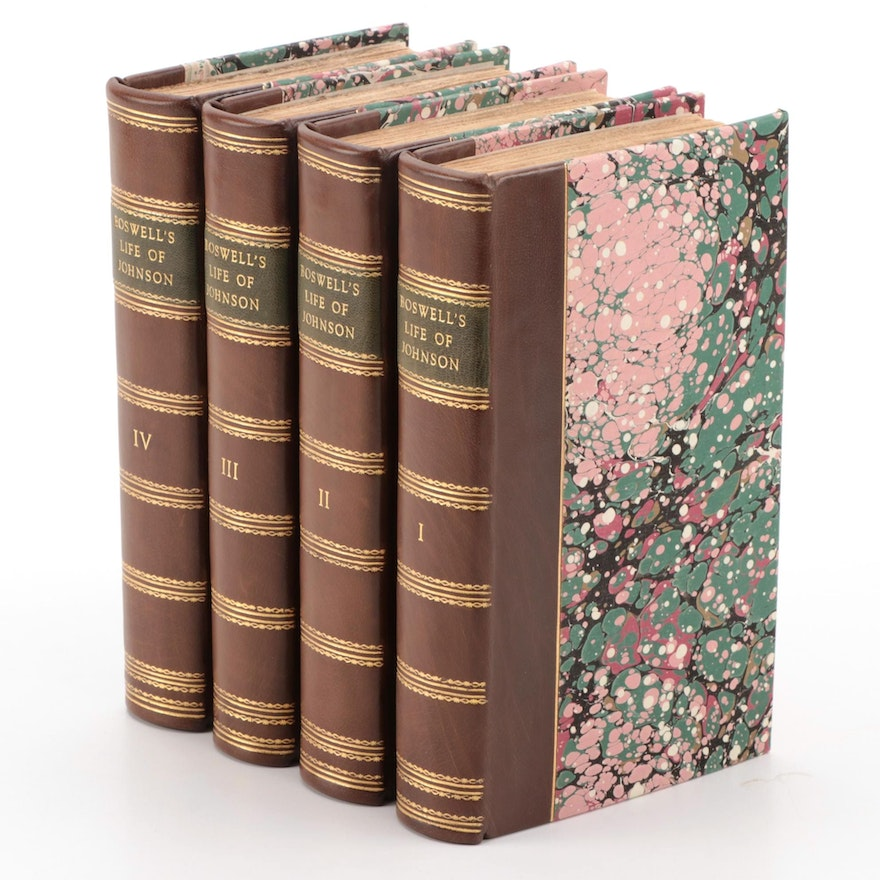 """Complete """"The Life of Samuel Johnson"""" Four-Volume Set by James Boswell, 1807"""