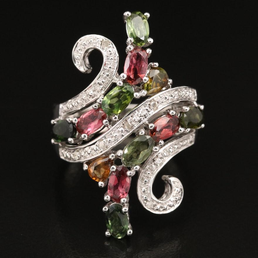Sterling Tourmaline and Diamond Ring