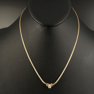 14K Diamond Stationary Pendant Necklace