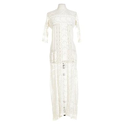 Edwardian Embroidery-Embellished Crocheted Lace Dress