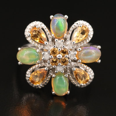 Sterling Opal, Citrine and Diamond Ring with Floral Design