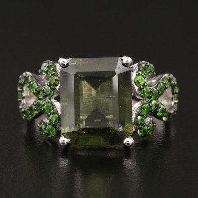 Sterling Moldavite and Diopside Ring with Scrolled Shoulders