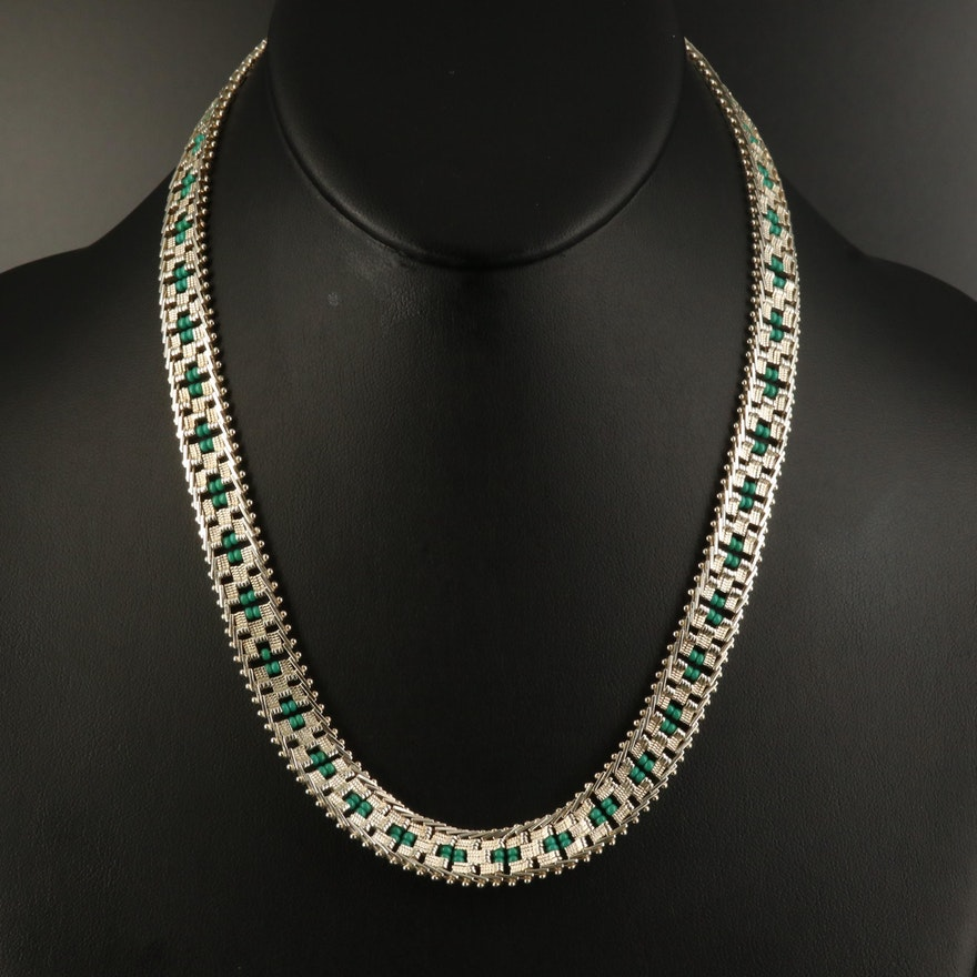 Sterling Riccio Chain Necklace with Glass Bead Accent