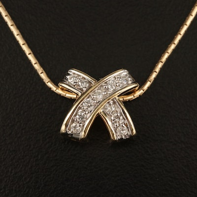 "14K Diamond ""X"" Necklace"