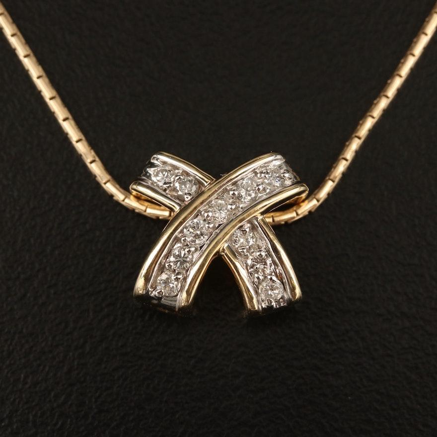 "14K Diamond ""X"" Necklace"