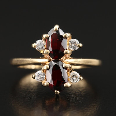 Vintage 14K Garnet and Diamond Ring