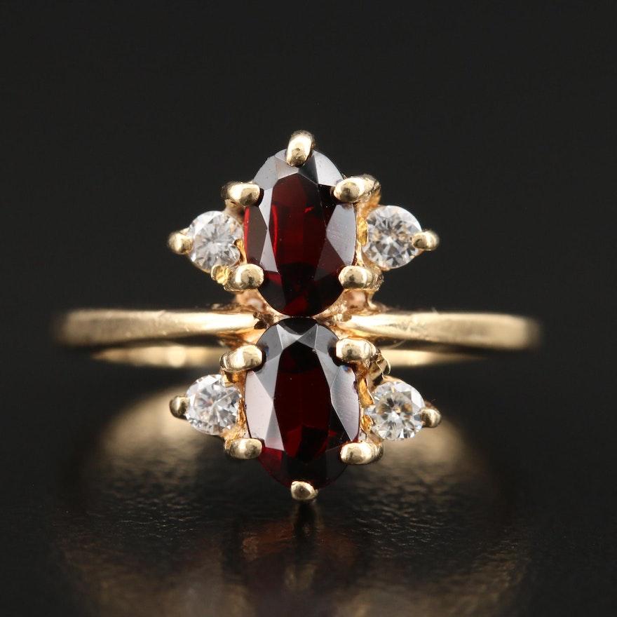 Vintage 14K Garnet and Diamond Ring