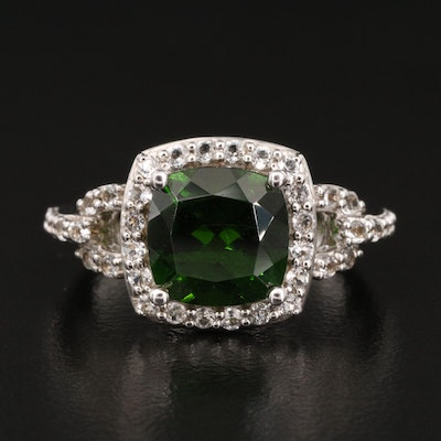 Sterling Diopside and Topaz Ring