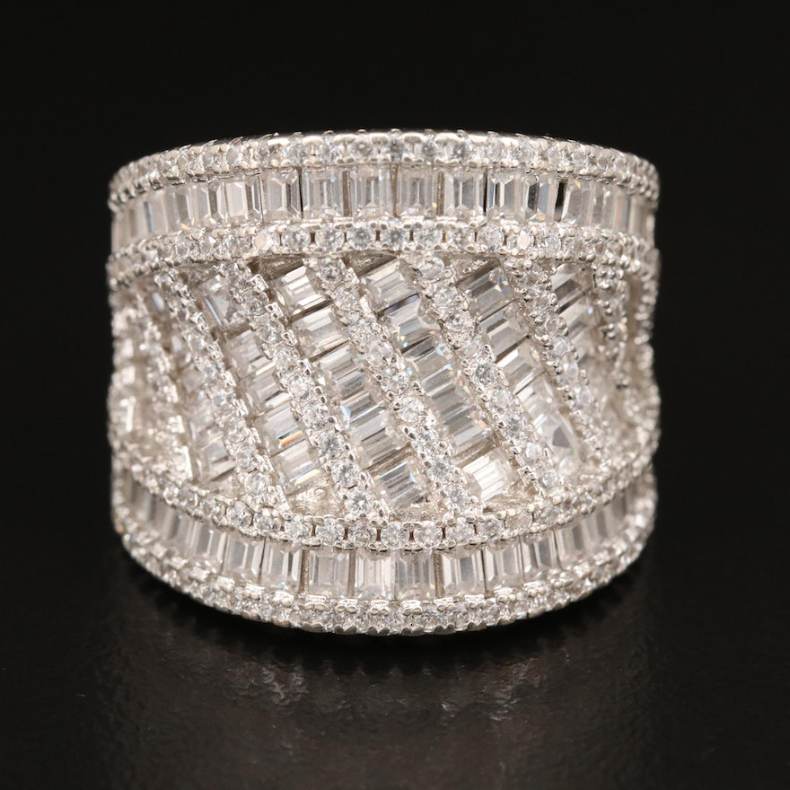 Sterling Silver Cubic Zirconia Saddle Ring