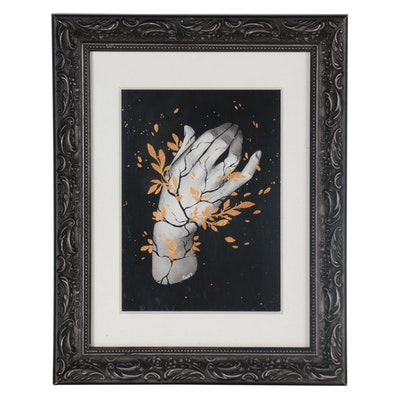 Mixed Media Painting of Hand, 2017
