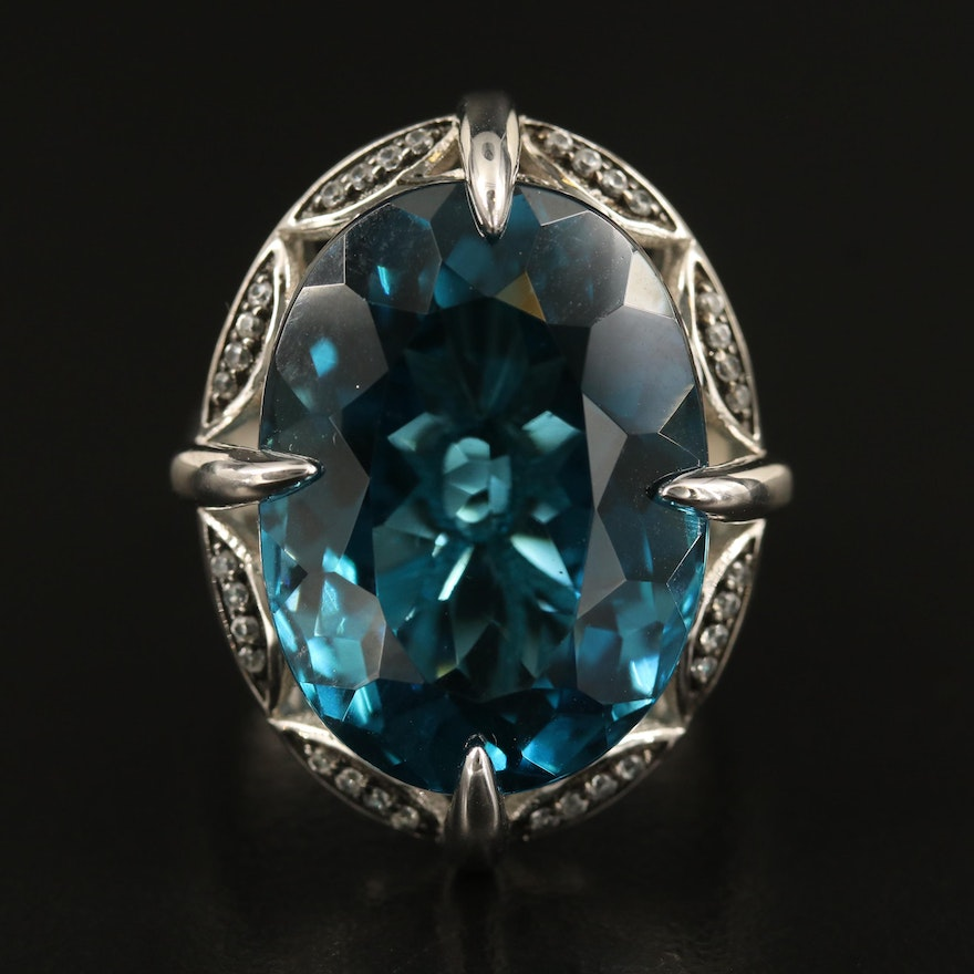 Sterling 25.39 CT London Blue Topaz Navette Ring with Zircon Accents