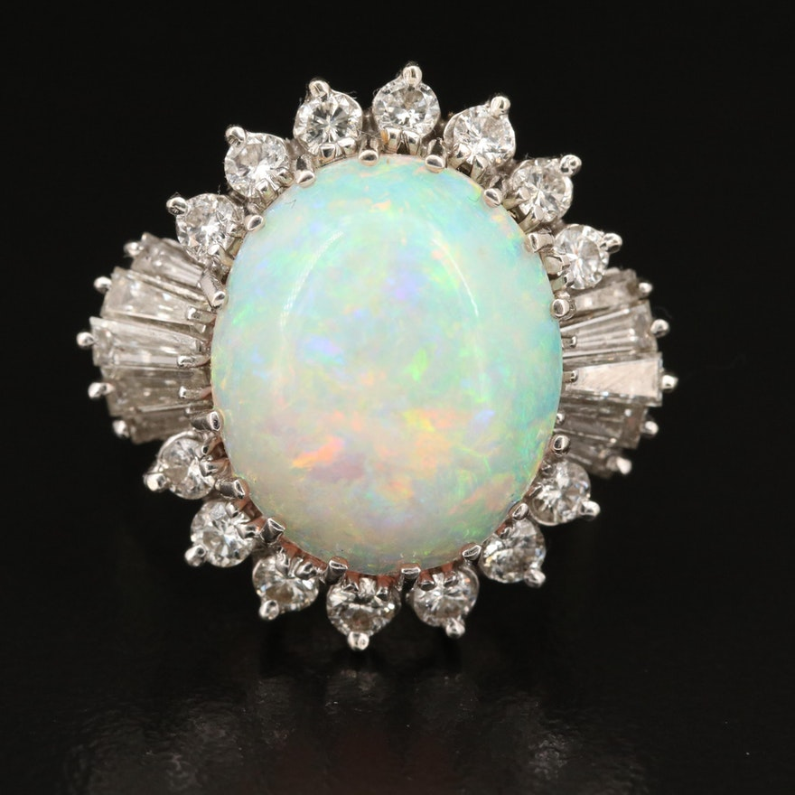 14K Opal and 1.03 CTW Diamond Ring