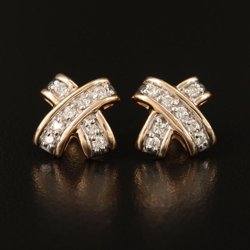 """14K Diamond """"X"""" Earrings"""