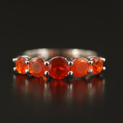 14K Fire Opal Five Stone Ring