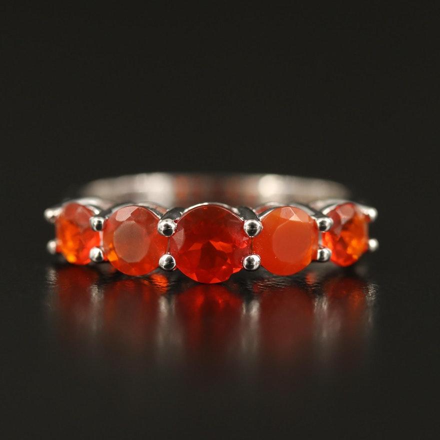 14K Fire Opal Five Stone Ring