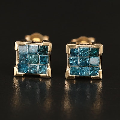 14K 1.02 CTW Blue Diamond Stud Earrings with 9K Posts