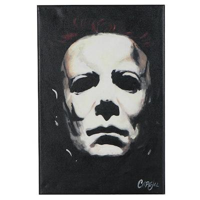 Chris Cargill Acrylic Painting Michael Myers, 21st Century