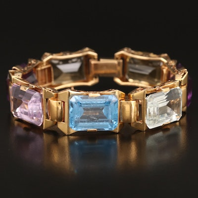 14K Bracelet Including Spinel, Aquamarine, Citrine and Amethyst