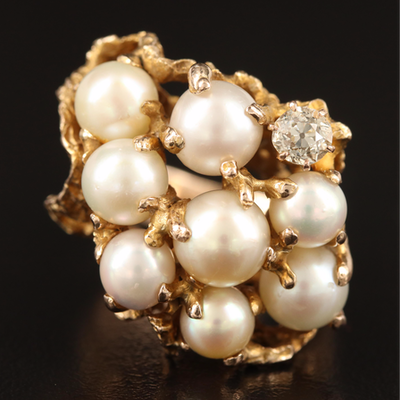 14K Pearl and Diamond Biomorphic Ring