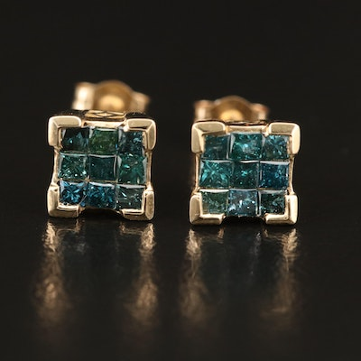 14K 1.01 CTW Blue Diamond Stud Earrings with 9K Posts