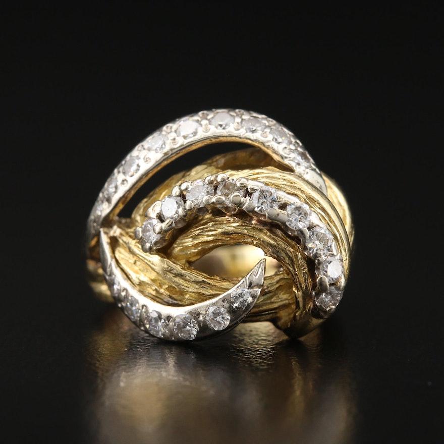 18K Diamond Biomorphic Swirl Ring