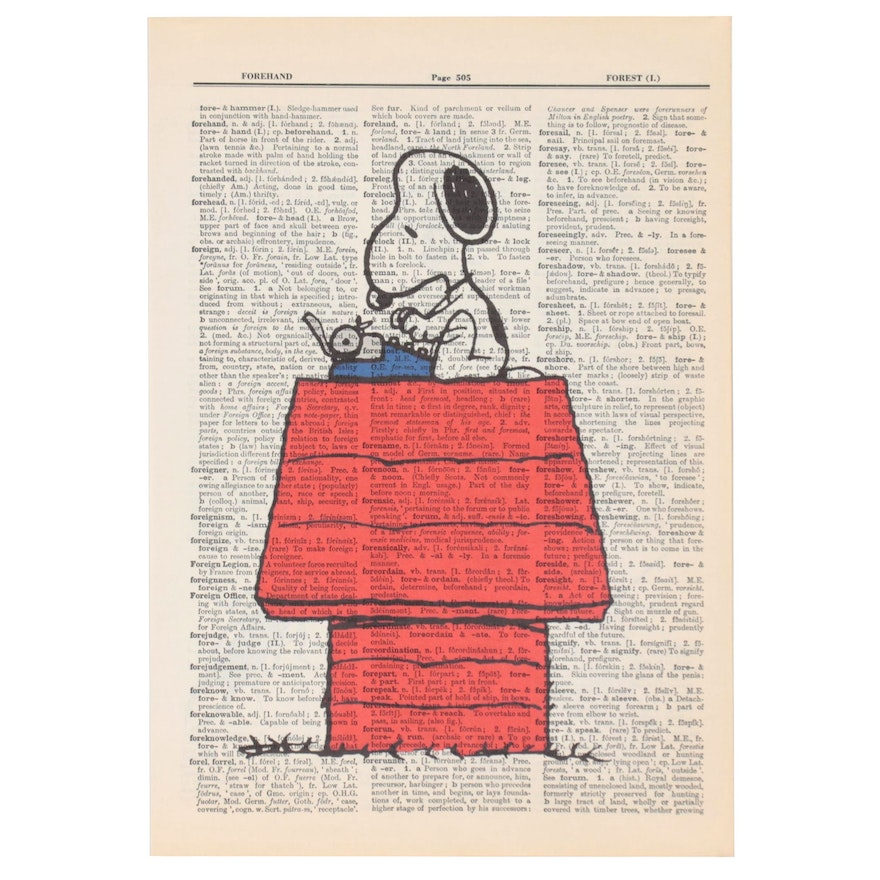 Giclée of Snoopy on Dictionary Paper