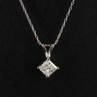 14K 0.54 CT Diamond Solitaire Pendant Necklace