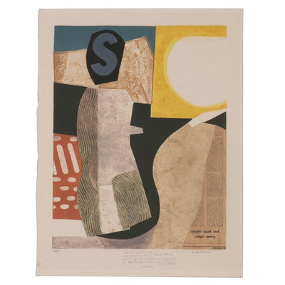 Max Papart Abstract Lithograph with Embossing and Collage, Mid-20th Century