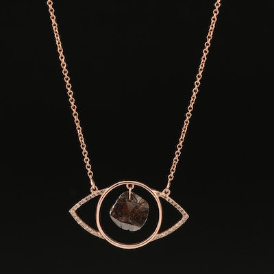 14K Rose Gold Diamond Evil Eye Pendant Necklace with Articulated Center