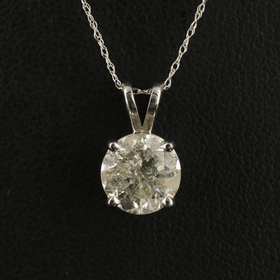 14K 2.79 CT Diamond Solitaire Pendant Necklace