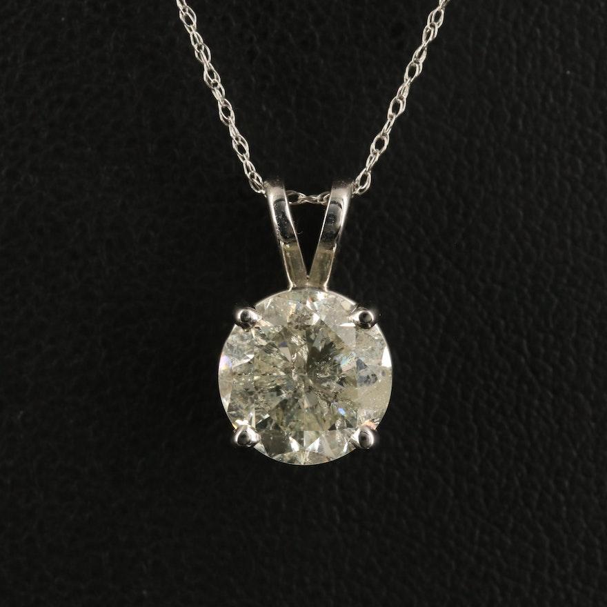 14K 2.79 CT Diamond Solitaire Pendant Necklace