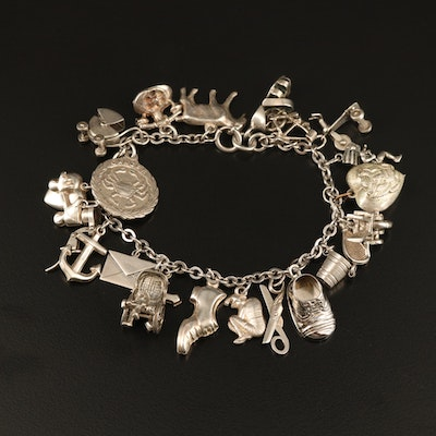 Vintage Sterling Charm Bracelet with Multi-Theme Charms Including Crosses