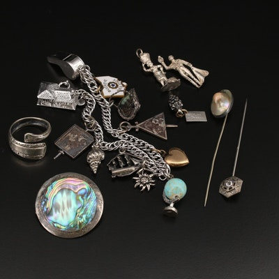 Jewelry Including Vintage Charm Bracelet, Sterling and Abalone