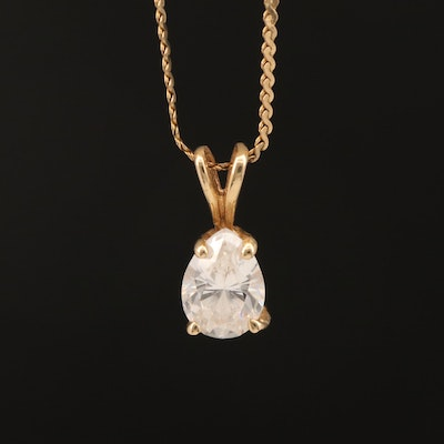 14K Cubic Zirconia Pendant on 10K Serpentine Chain