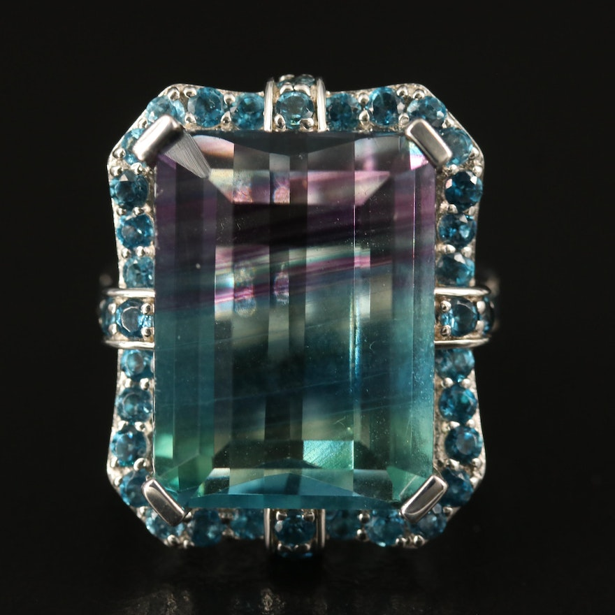 Sterling Fluorite and Topaz Ring