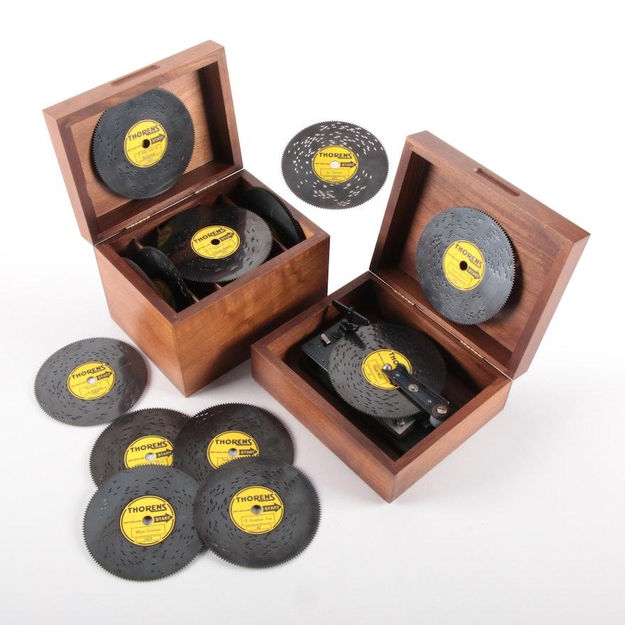Thorens Swiss Walnut Wood Music Box and Discs, Mid-20th Century