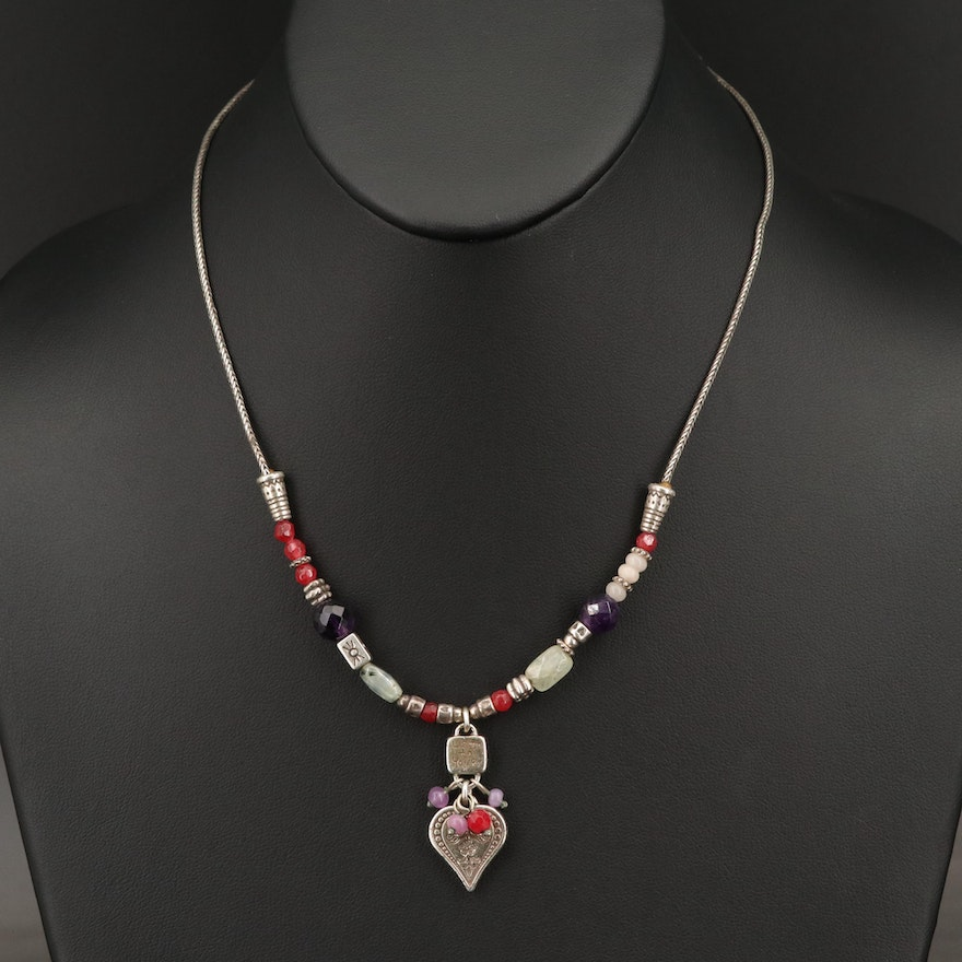"""Brighton """"Listen to Your Heart"""" Necklace with Amethyst, Quartz and Prehnite"""