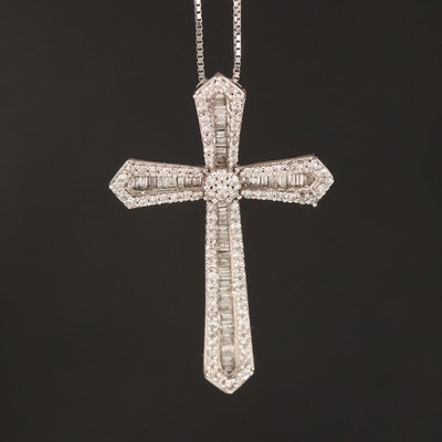 10K Diamond Cross Pendant Necklace