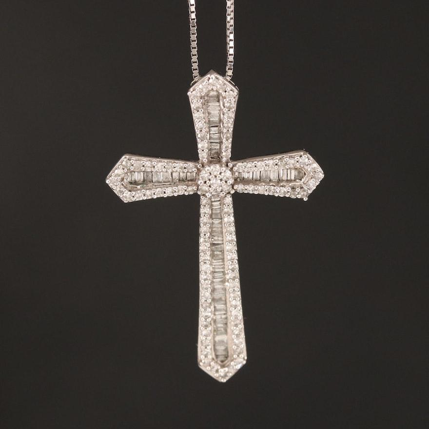10K Diamond Cross Pendant Necklace
