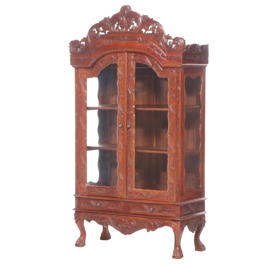 Asian Carved Hardwood Display Cabinet