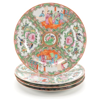Chinese Export Rose Medallion Porcelain Plates, Mid to Late 19th Century