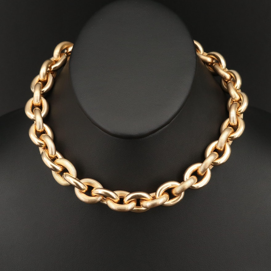 14K Textured Cable Link Necklace